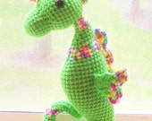 Seahorse Doll - Crochet Seahorse in Lime Green and Spring Multi (Finished Doll)