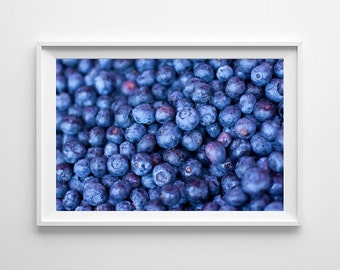 Blue Kitchen Decor Blueberries Food Photography - Farmers Market Kitchen Art, Gifts for Foodies - Small and Large Wall Art Prints Available