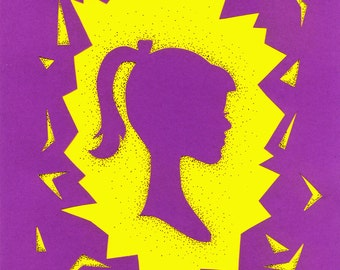 Paper Cut girl profile, 8.3 x 11.7 inches, A4