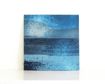 "Etching Art Print . Abstract Landscape . Navy Blue : Striation 197. Print Size 9.5"" x 9.5"" . unframed"