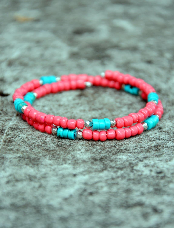 coral turquoise beaded mini boho wrap bracelet. Black Bedroom Furniture Sets. Home Design Ideas