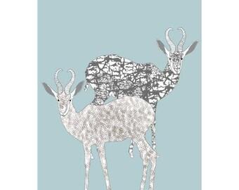 African animals, Antelopes, Illustration Print, Nursery print, giclee print,