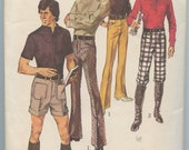 1970s Vintage Sewing Pattern Simplicity 9529 Mens Cuffed Shorts Knickers and Flared Leg Pants or Trousers Waist 36