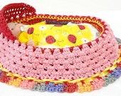 handmade crochet cradle purse travel toy itty bitty baby church purse quiet book  BG#76