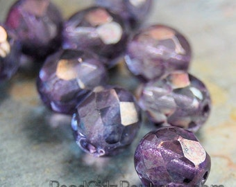 8mm Czech Fire Polished Glass Faceted Round Beads in Purple Amethyst luster- 25 Pieces