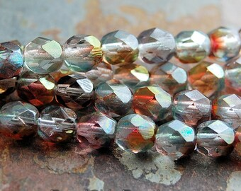 Pink Crystal Luster Czech Glass Bead 6mm Faceted Round - 25 Pc