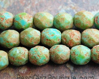Czech Bead Firepolish 6mm : Stone Picasso Turquoise - 25 Pieces