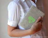 "iPad mini case - Kindle Fire - Galaxy 7"" - Diamond neon - Hand embroidery - Geometric - Linen - iPad fashion"