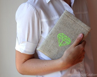 iPad mini case - iPad mini sleeve - Diamond neon - Hand embroidery - Geometric - Linen - iPad fashion - christmas gift