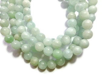 Amazonite - 12mm Round Bead - 32 beads - Full Strand - aqua - pastel - shades of pale green and pale blue stone