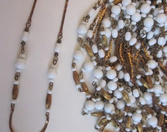 Three Vintage Chain With White Milk Glass Beads