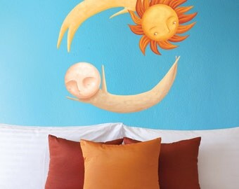 Dancing Sun and Moon Wall Decal Set - Repositionable Decal Sticker - Art by Laura González