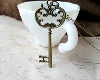 Large skeleton key necklace- Large key necklace- Antique bronze key necklace- Ornate key necklace- Victorian key- Vintage style key
