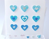 Handmade 3D Greetings Card -Love Heart, Anniversary, Birthday, I Love You, Hearts, Wedding, Thank You, Valentines, Blue 3D Blank Card BH04