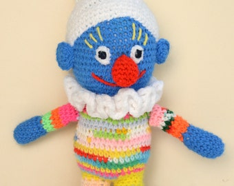 "smurf knitted doll, rainbow, blue, vintage doll,16.5"" tall, vintage toy,soft, clean and fresh, knit toy, crochet toy"