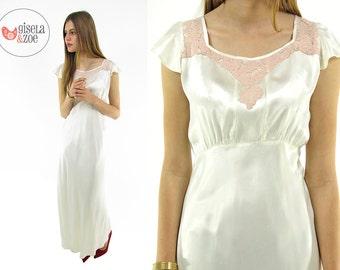 Vintage 30s Silky Satin Lingerie / 30s Maxi Slip Dress / Satin Lace Lingerie Slip . xs sm