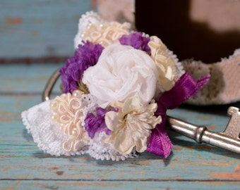Skeleton Key Boutonniere with White, Ivory, and Purple Accents - SALE