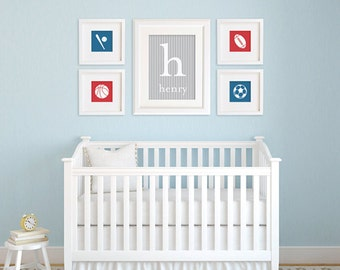 Boy Nursery Print Set / Sports Icons Wall Art / Choose your Sport, Color and Background / 8x10 Sports Poster