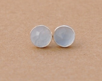 Ice Blue Chalcedony Earrings handmade with Sterling Silver Earring studs, 6mm Chalcedony Gemstones and 925 silver, silver jewelry gifts