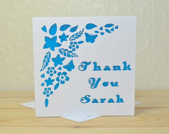 Thank You Floral Card Laser Cut