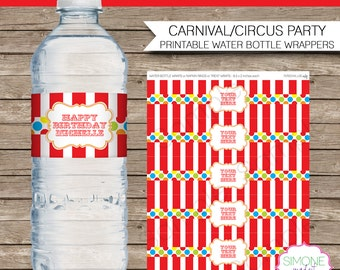 Carnival Water Bottle Labels or Wrappers - Carnival or Circus Party - INSTANT DOWNLOAD with EDITABLE text - you personalize at home