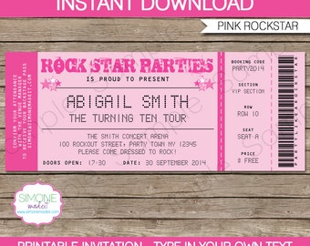 Rockstar Invitation Template - Karaoke Invitation - Birthday Party - Pink - INSTANT DOWNLOAD with EDITABLE text - you personalize at home