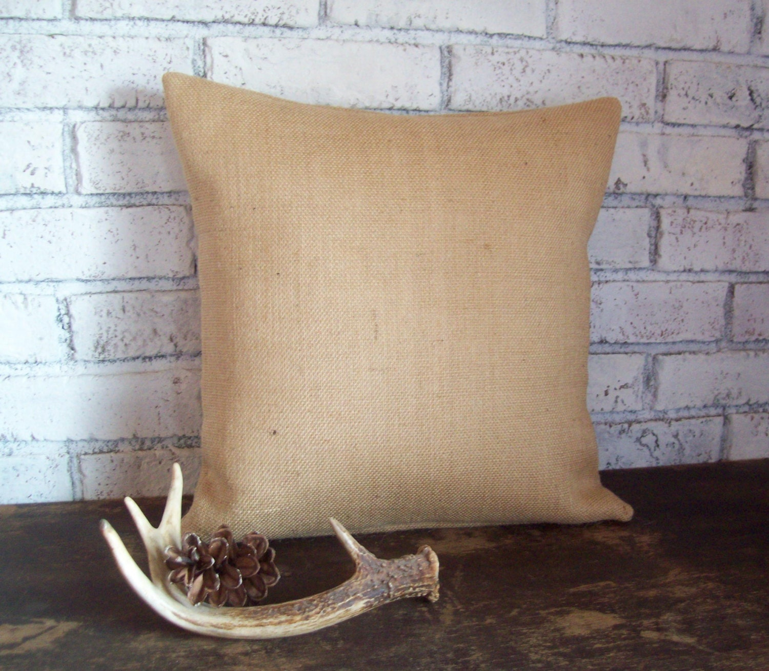 Decorative Burlap Pillow Covers : Burlap Pillow Cover Rustic Decorative by NorthCountryComforts
