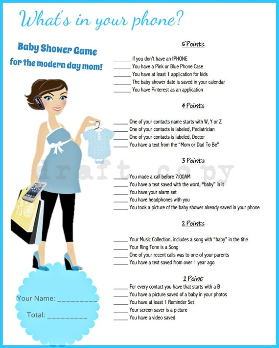 Games For A Baby Shower For A Boy: Baby Shower Game What's In Your Phone Instant Download