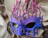 Naiad Leather Filigree Mask - Blue, Purple, and Pink - Nymph, Elf, Fairy, Coral - Halloween, New Year's Eve