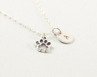 Sterling silver dog paw necklace, personalized animal jewelry, initial charm necklace, engraved gifts for dog lover, gray
