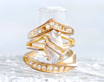 Vintage Golden Stacking Rings - set of 3 Stackable Rings with Rhinestones - Size 6.5