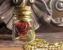 Red Rose in a Vial - Beauty and the Beast Necklace