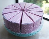 6 unique Pretty in Pink - pink and white polka dot pattern wedding favor box cake slice boxes