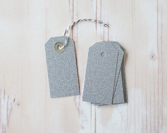 Silver Glitter Small Gift Tags with Twine - 10 pc