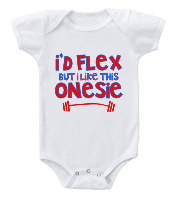 Items similar to Funny Baby Bodysuit I d Flex but I Like