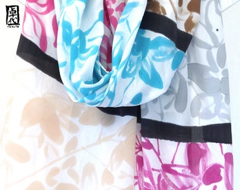 Silk wedding shawl, Spring wedding scarf, Silk wedding scarf, Scarf oversized wrap, Colorblock Zen Tropical Orchids, Handpainted, 22x90 inch