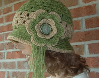 Flapper Fanny Meets Hippie Mama Crochet Hat - Sage Green and Honey
