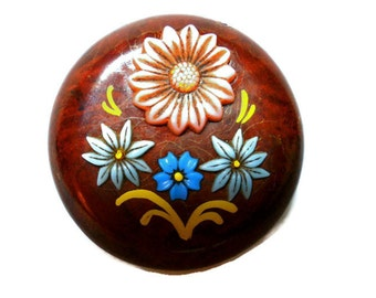 Vintage Celluloid Brooch 1930s Colorful Flowers on Dark Wood