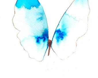 pale ultramarine and azure blue butterfly with white gold. original watercolour painting