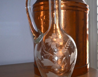 Crystal Water Wine Pitcher with Etched Flower Design