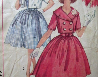 60s pattern - sleeveless dress - cropped jacket - Mad Men dress - fitted waist - sailor collar - Simplicity 3362 - size 14 bust 34