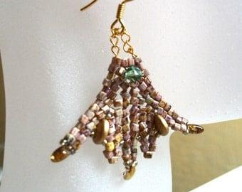 Beadwoven Earrings - Celtic Princess Fan, Ginkgo Leaf, Mosaic- 14 Karat Gold, Green & Bronze tones.