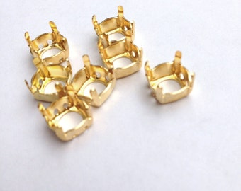 Gold Overlay Settings Sew on for Swarovski Stones ss39 8mm 20 Pieces