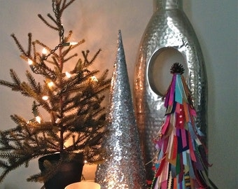 OOAK Christmas Tree Holiday Decor, Embellished with Upcycled Ribbon Scraps & Pinecone