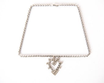 Vintage Costume Jewelry Rhinestone Heart Necklace