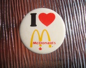 I Heart McDonald's Canada PinBack Button