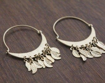 Gold Leaf Dreamcatcher Hoops