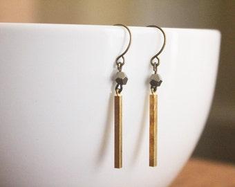 Pyrite & Brass Earrings
