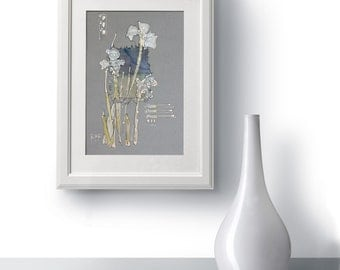 Silver irisses - Paintings on paper and viscose - Floral artwork - light gray, dust blue, light green - home decor - mixed media art - OOAK