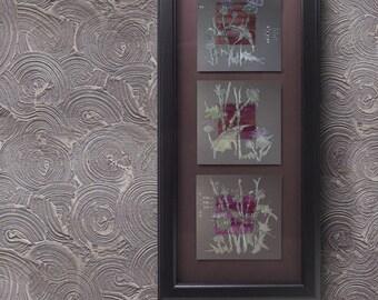 Mauve Burdock - Purple Thistle Flowers - Triptych - three Paintings on paper and silk - Floral original artwork - mixed media art - OOAK